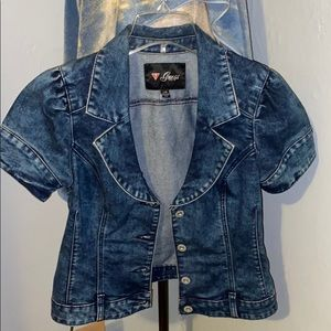 Women's large guess short sleeve jean jacket
